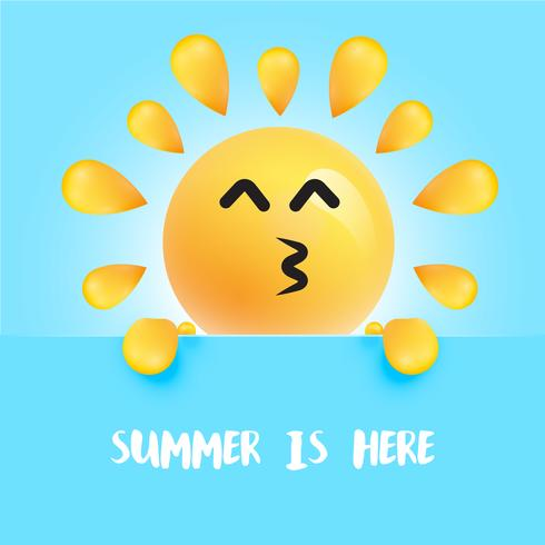 """Funny sun-smiley with the title """"summer is here"""""""