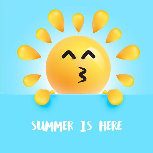 """Smiley-soleil drôle avec le titre """"l'été est là"""""""