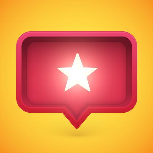Estrela de avaliação brilhante na bolha do discurso, ilustração vetorial