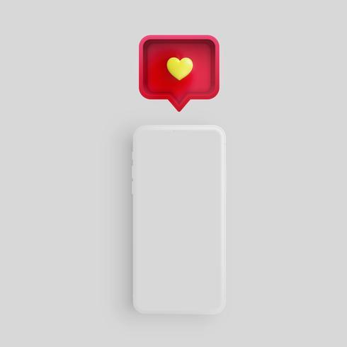 Realista telefone fosco com coração 3D e balão de fala, ilustração vetorial