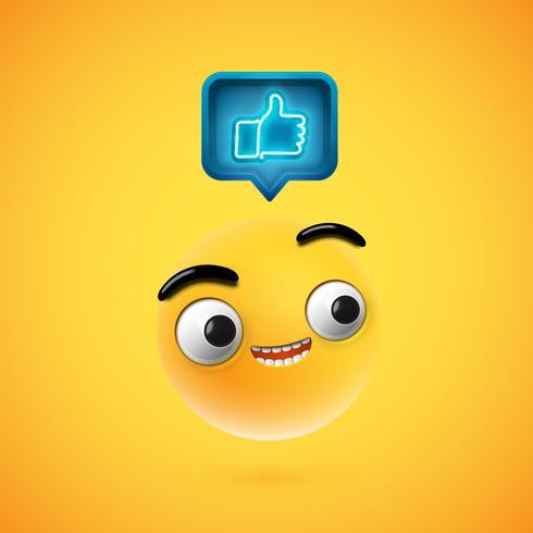 Alta detalhada smiley com polegares para cima sinal, ilustração vetorial
