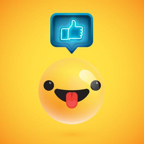 Hoher ausführlicher Emoticon mit den Daumen herauf Zeichen, Vektorillustration