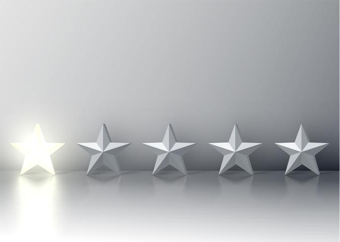 One-star rating met gloeiende 3D-sterren, vectorillustratie