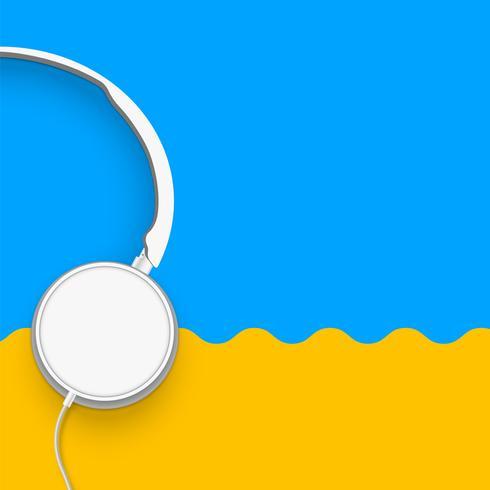 3D realista dividido fones de ouvido coloridos pastel com fios