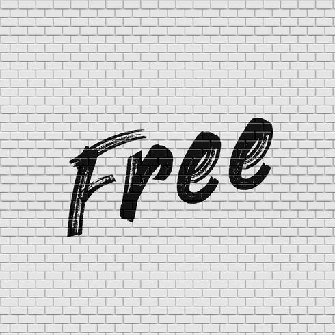 High detailed brick wall with 'Free' painting vector illustration
