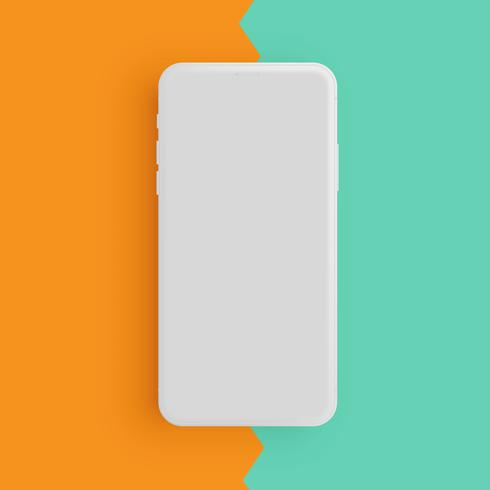 Realistic matte grey phone with colorful background, vector illustration