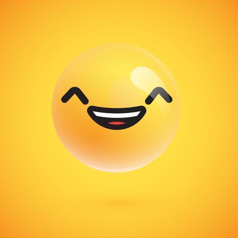 Lindo emoticon amarelo alta detalhado para web, ilustração vetorial