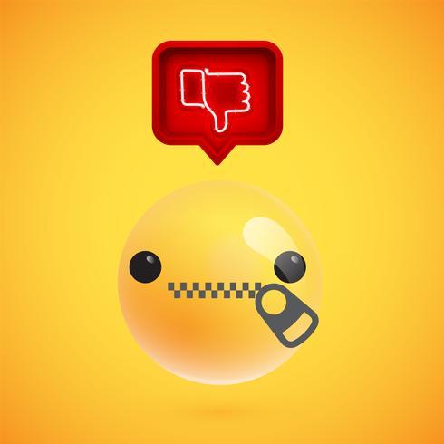 Emoticon 3D realista com sinal de antipatia brilhante de néon em um balão 3D, ilustração vetorial