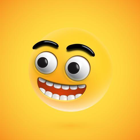 Emoticon feliz altamente detallado, ilustración vectorial