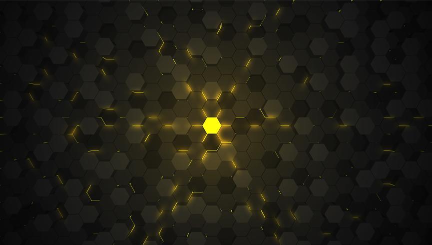 Fondo de tecnología hexagonal amarillo 3D, ilustración vectorial vector