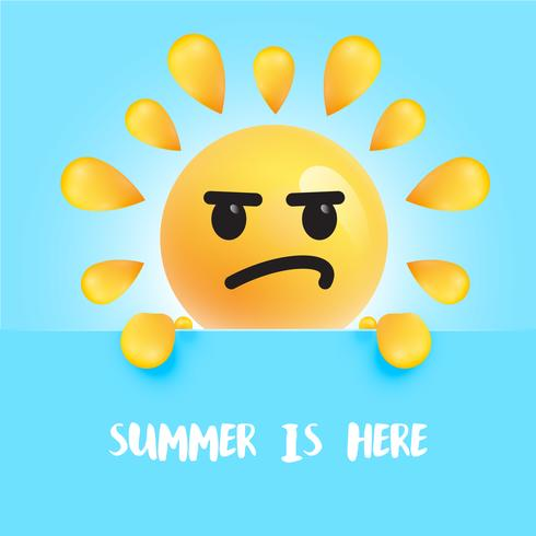 "Funny sun-smiley with the title ""summer is here"" vector"