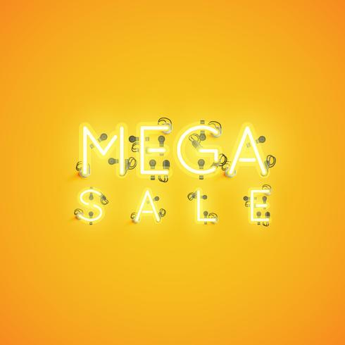 'MEGA SALE' neon underteckna, vektor illustration