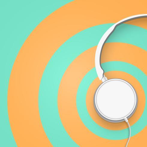 3D realista dividiu fones de ouvido coloridos círculo pastel com fios