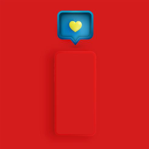 Realistic matte phone with 3D heart and speech bubble, vector illustration