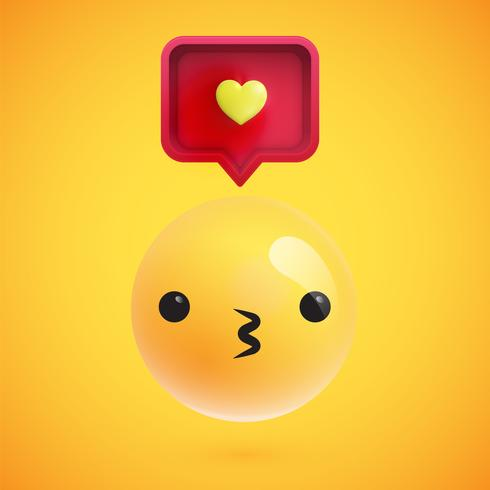 Hoher ausführlicher Emoticon mit einem Herzzeichen, Vektorillustration