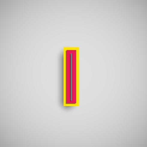 Carattere colorato di papercut da una composizione, vettore