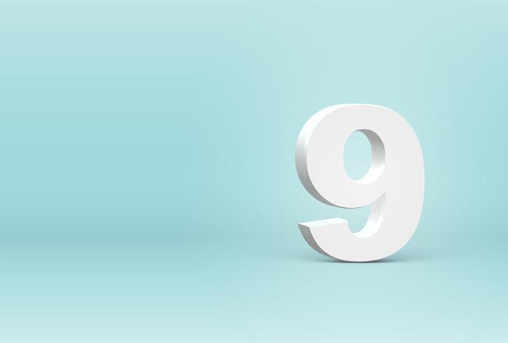 Número de fonte 3D altamente detalhado, ilustração vetorial