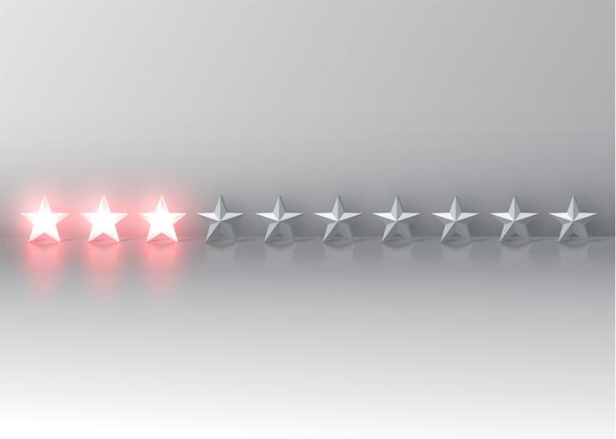 Glühende rote Sternbewertung 3D, Vektorillustartion