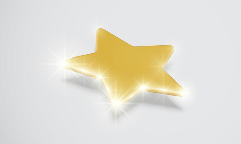Glänzender Goldstern mit Schlagschatten, Vektorillustartion