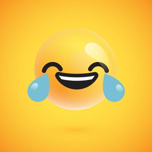 Lindo emoticon amarillo altamente detallado para web, ilustración vectorial