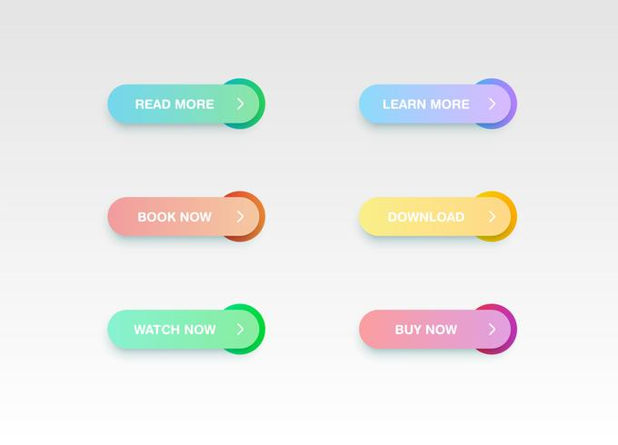 Bunter Knopf stellte für Website oder Online-Gebrauch, Vektorillustration ein