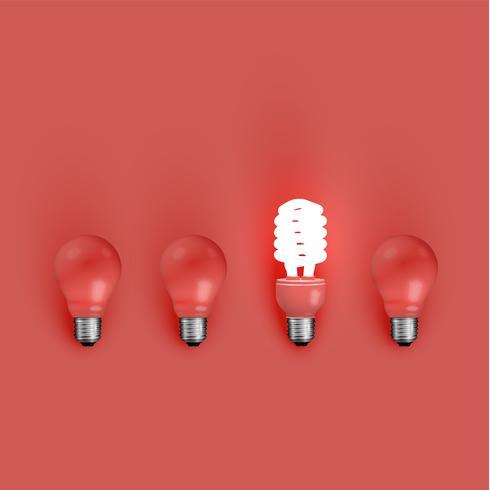 Bombilla de ahorro de energía entre los viejos, ilustración vectorial vector