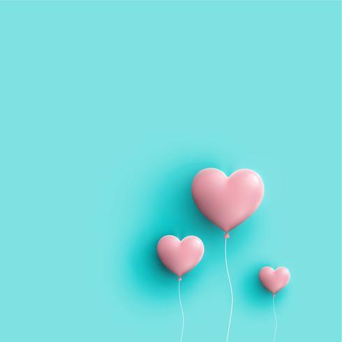 De pastelkleur kleurde 3D harten, vectorillustratie