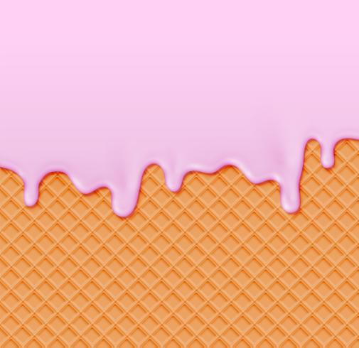 Waffle realista con crema de fusión en él, ilustración vectorial vector