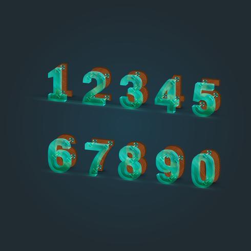 Realsitic glas en hout lettertype ingesteld, vector illustratie