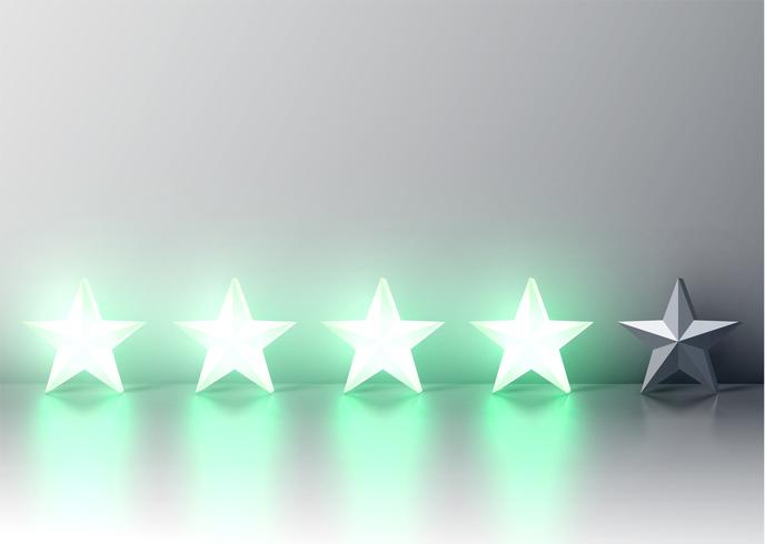 Calificación de estrellas 3D verde brillante, ilustración vectorial