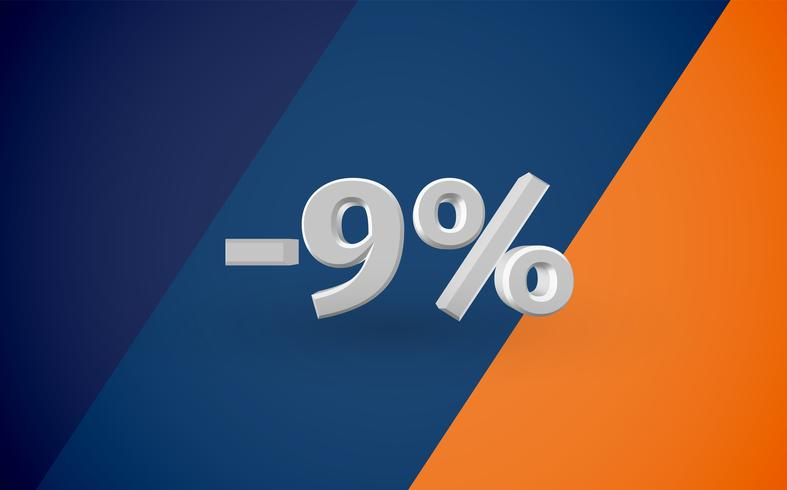 3D verkoopillustratie met percentage, vector