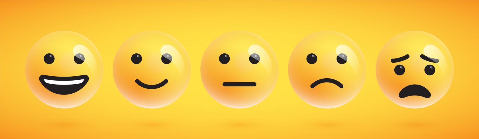 Cinque emoticon ad alta dettagliata carina per il web, illustrazione vettoriale