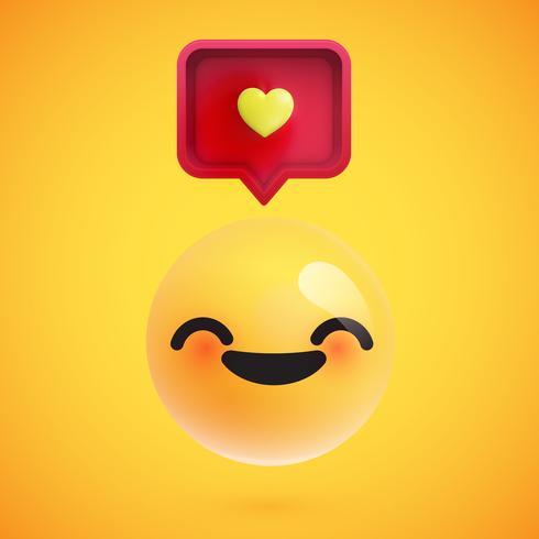 Hoog gedetailleerde emoticon met een hartenteken, vectorillustratie