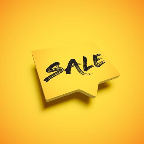 Bolha amarela alta detalhado com o título 'venda', ilustração vetorial vetor