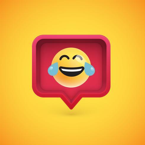 Emoticon divertido 3D en bocadillo de diálogo 3D, ilustración vectorial