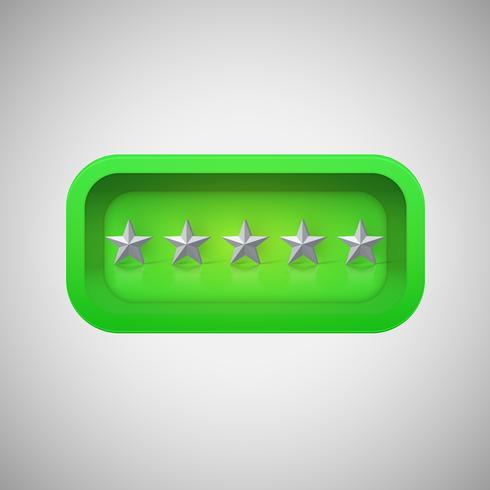 Calificación de estrella verde brillante en una caja brillante realista, ilustración vectorial vector