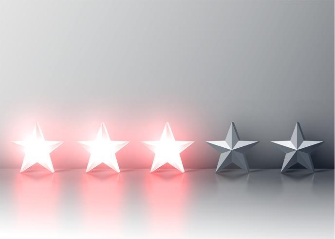 Valutazione rossa d'ardore della stella 3D, illustartion di vettore