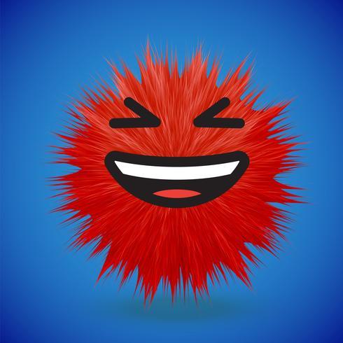 Hoog-gedetailleerd 3D bont smiley emoticon, vectorillustratie