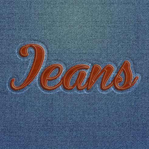 Realistiskt broderat 'Jeans' ord, vektor