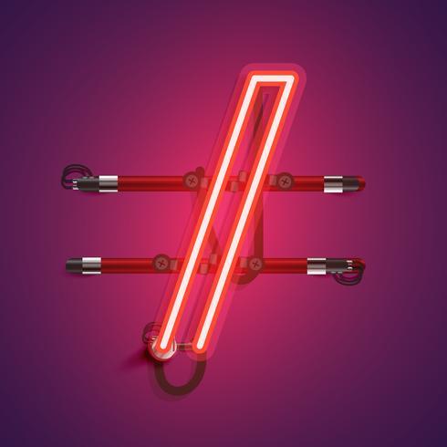 Realistisk neon karaktär med ledningar och konsol, vektor illustration