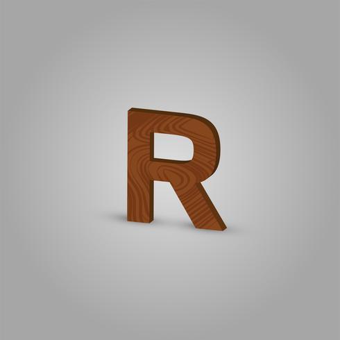 Realistisch houten karakter van een gezet, vectorillustratie