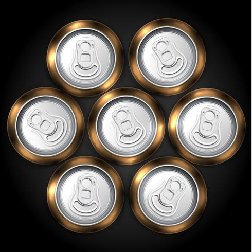 Realistic pack of 7 beer or soda can from the top, vector illustration