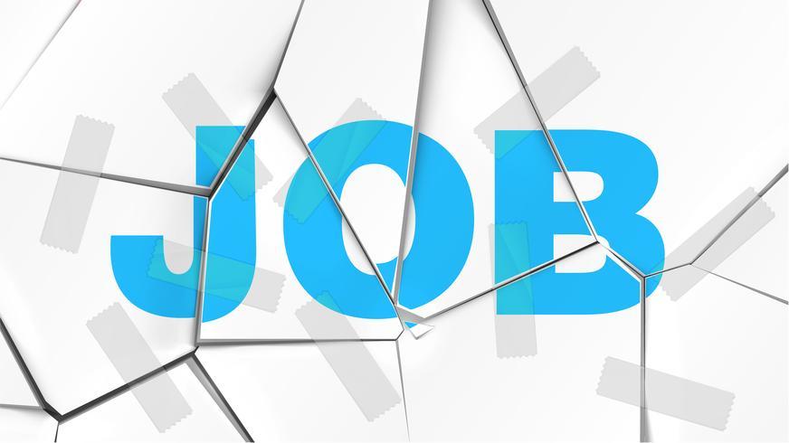 Palabra de 'TRABAJO' en una superficie blanca rota, ilustración vectorial