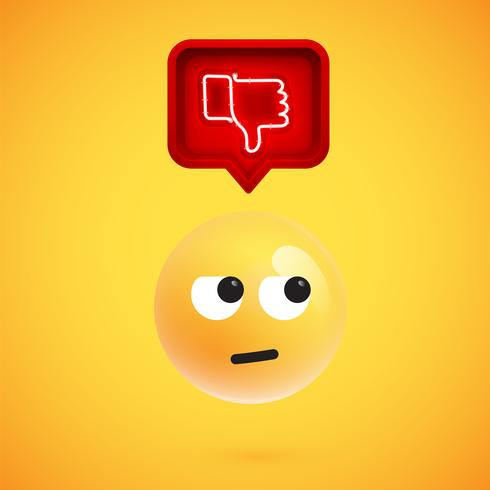 L'emoticon realistico 3D con l'avversione d'ardore del neon firma dentro un fumetto 3D, illustrazione di vettore
