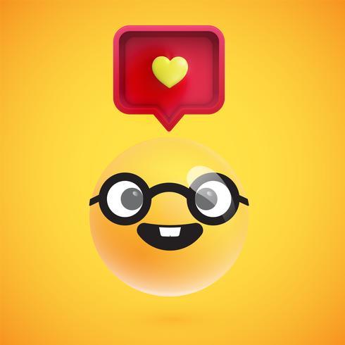 Hoog gedetailleerde emoticon met een hartenteken, vectorillustratie vector