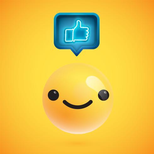 Hoog gedetailleerde emoticon met duimen omhoog teken, vectorillustratie