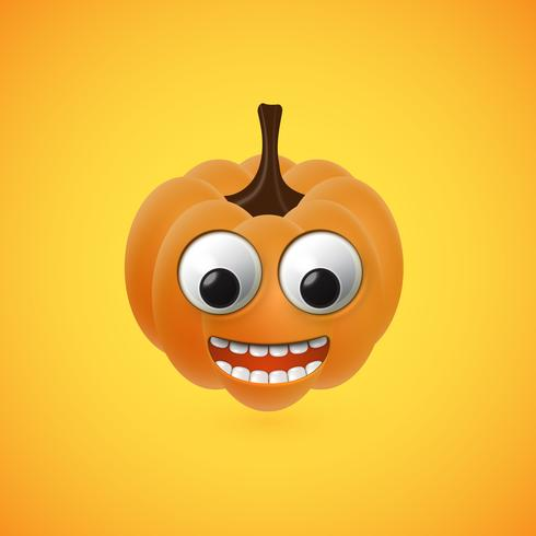 Cara de calabaza de halloween divertido para niños, ilustración vectorial