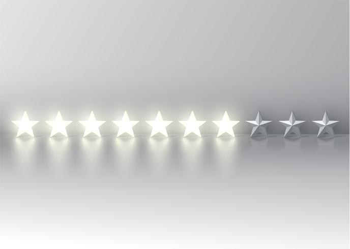 Clasificación de siete estrellas con estrellas brillantes en 3D, ilustración vectorial