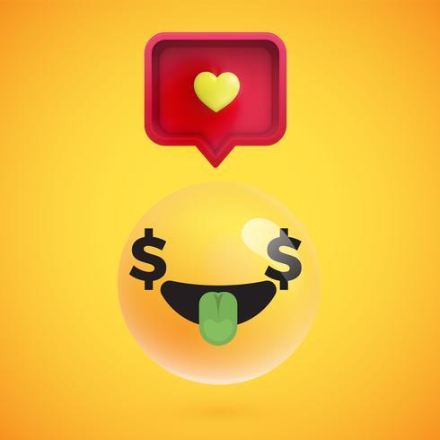 Haute émoticône détaillée avec un signe de coeur, illustration vectorielle