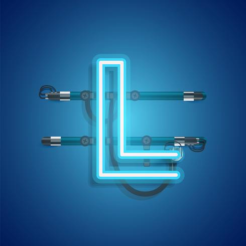 Realistic neon character with wires and console, vector illustration